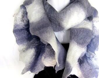 Felted Scarf, Ruffled Wavy, Gray Milky White, Merino Wool Mohair Scarf