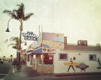 California Beach Photography, Pismo Beach, Splash Cafe, Coastal Decor, Kitchen Decor, Ocean, Surf, Summer, Fine Art Print, blue, green