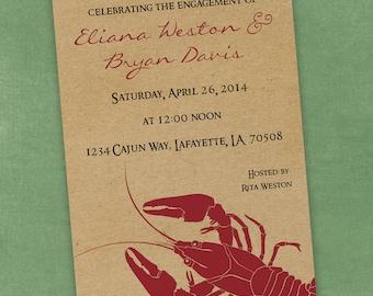Printable Digital File - Crawfish Boil Invitation - Customizable - Kraft Paper, Seafood, Crayfish, Cajun, Birthday, Shower, Engagement Party