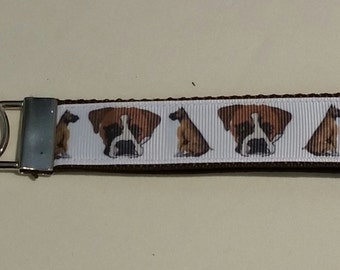 Handcrafted Boxer Dogs Key Chain Wristlet NEW