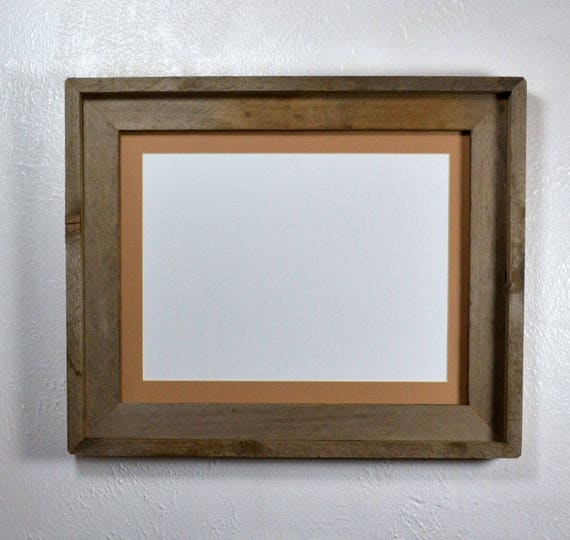 Picture frame 9x12 tan mat upcycled woodfits an