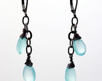 Green Chalcedony earrings on gunmetal chain / Mint green earrings / Green gemstone earrings / Gunmetal earrings / Chalcedony earrings