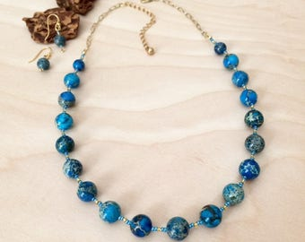 Blue Jasper Necklace Set Gemstone Jewelry Turquoise Blue Stone Necklace Blue Necklace Jewelry Anniversay Gift Wife Mothers Day Gift For Mom