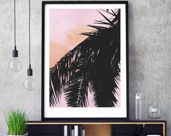 Palm Leaf Sunset Print - Digital Download