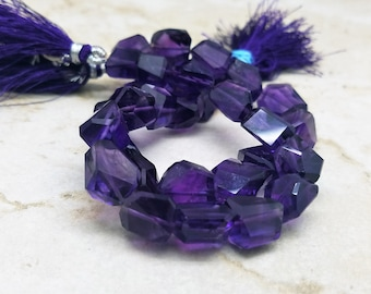 10 - 12 mm , Amethyst Faceted Nuggets , 8 Inch