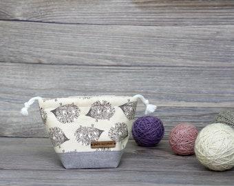 Knitting Project Bag | Grey Hedgehogs Motif Single Sock Sack Yarnmonster Knitting Project Bag