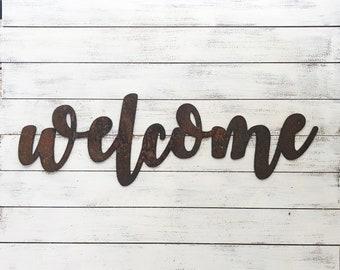 """WELCOME- 12"""" Rusty Metal Script Sign"""