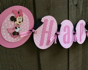 Polka dot pink Minnie Mouse Happy Birthday banner
