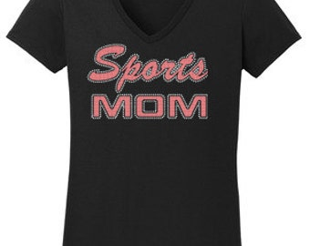 Sports Mom Rhinestone w/Vinyl T-Shirt Made to order