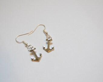 smaller anchor earrings, dangle earrings, silver, earlobe jewelry, ear wire, women's accessories, girl's accessories, gift, nautical