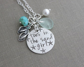 toes in the sand girl, beach quote necklace, hand stamped sterling silver flip flop jewelry, genuine sea glass, Swarovski crystal pearl aqua