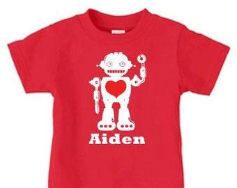Boys Valentine Shirt, Valentine robot shirt, Valentine Shirts for boys