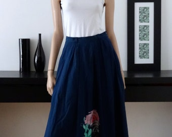 Navy Blue vintage BORA BORA ELKONT skirt size 36/Vtg swing skirt uk 8 - us 4