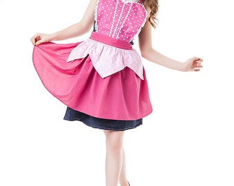Sleeping Beauty apron, AURORA apron, Sleeping Beauty costume apron, pink APRON, womens full costume apron
