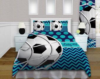 Girls Soccer Bedding   Teal U0026 Navy Comforter   Soccer Bedding   Custom  Soccer Ball Personalized