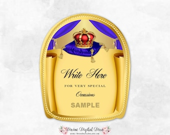 Whisky Label Blanks | Royal Crown Pillow Blue Gold Red | Tags Labels | Write Your Own Digital Instant Download