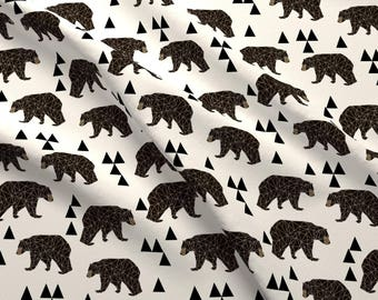 Bears Fabric - Geo Bear / Cream Woodland Kids Nursery Baby Trendy By Andrea Lauren - Bears Fabric Cotton Fabric by the yard with Spoonflower
