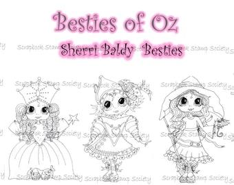 INSTANT DOWNLOAD Digital Digi Stamps Big Eye Big Head Dolls Digi   Besties Besties Of Oz Full Set Of All 8 Digis  By Sherri Baldy