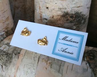 Vintage Brass Whale Stud Earrings