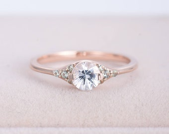 Rose gold engagement ring Cluster White sapphire engagement ring Simple Green Sapphire Wedding Bridal Jewelry Valentines day gift for women