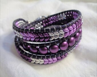 Triple Wrap Leather Beaded Bracelet,... Purple , Silver and Black