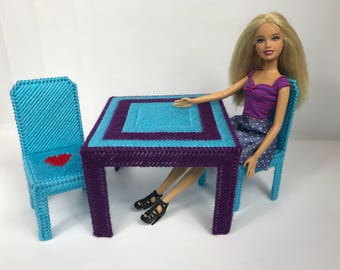 "Fashion Doll Kitchen Table and 2 chairs for 11 1/2"" dolls, doll furniture, purple turquoise dining table"