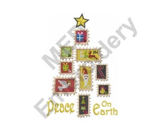 Christmas - Machine Embroidery Design, Stamps, Christmas Tree, Peace on Earth