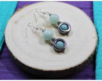 Earrings Silver 925 gemstones beads: Hematite - Amazonite