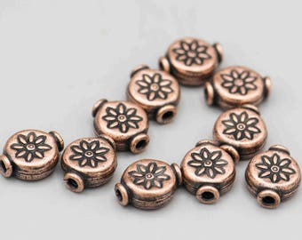 Antique Copper Plated Flower Bead 11x9mm 10 Beads SKU-FMB-1