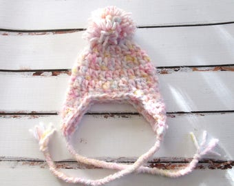 Baby Girl Winter Hat, Newborn Girl Pom Pom Hat, Baby Hat with Earflaps, Chunk Baby Girl Hat, Hat for Baby Girl, Baby Pom Pom Hat, Pink