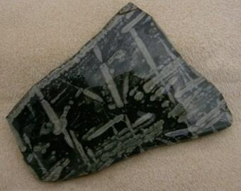 Chinese Writing Stone Slab - Black & Grey with Exquisite Pattern, Handmade Stone Slice by JewelryArtistry - SL465