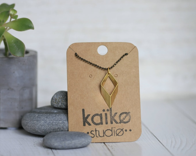 Geometric Rhombus Brass Pendant and Faceted Ball Chain Necklace | Minimalist | Gift