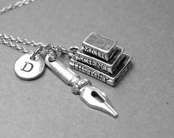 Book necklace, pen nib necklace, writer necklace, graduation gift, gift for writer, initial necklace, personalized necklace, monogram