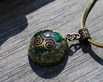 Raw Malachite Orgonite® Pendant Triskele Celtic Spiral Necklace