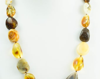 Handmade Baltic Amber Necklace. Multicolor Amber Necklace. Very Elegant. Rare Amber Necklace. Great Look. Genuine Amber Jewelry. Women.