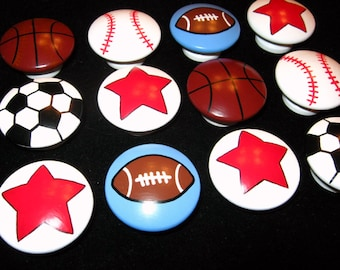 "Set of 12 Knobs - SPORTS BALLS + STARS - 1 1/2"" knobs -- Football, Basketball, Baseball, Soccer Ball, Red Stars - Hand Painted  Wooden Knobs"