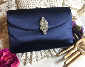 Vintage dark navy blue silky fabric Coblentz clutch handbag, formal midnight blue satiny fabric retro clutch purse, Mad Men navy blue bag