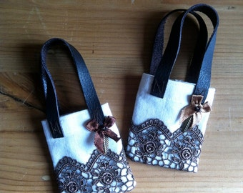 Tote bag cotton cream and chocolate lace, dolls BJD MSD