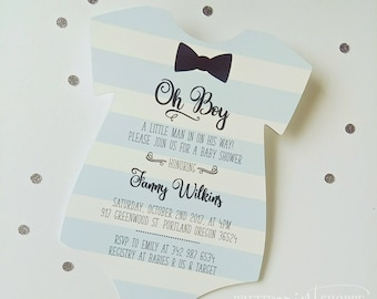 Little Man Invitation, baby shower invitation, onesie invitation, baby shower card, baby shower invitation, little man baby shower