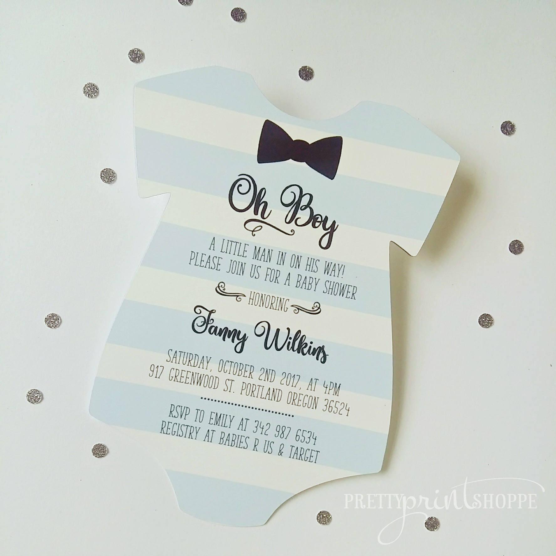 Little Man Invitation baby shower invitation onesie