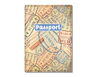 Eco Leather Passport Cover, Passport Stamps