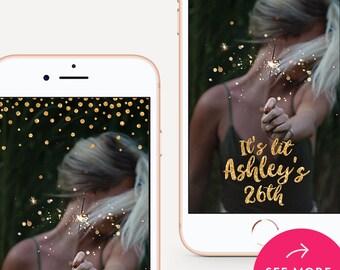 Birthday Snapchat Filter, Party Snapchat Geofilter, Bachelorette Filter, Snapchat Geofilter - Gold Dots Sparkles Design