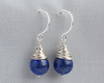 Lapis lazuli earrings | blue earrings | blue drop earrings | wire wrapped earrings | silver wire earrings | lapis lazuli jewelry | teardrop