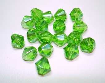 Lime Green Bicone Glass Beads (Qty 18) - B1954