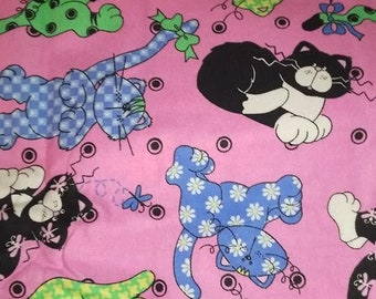 Catty Wampus for Patty Reed Patchwork Cats Kitties on Pink
