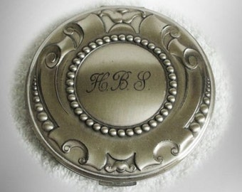 Volupte sterling silver vintage large compact with mirror