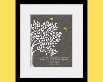 Groom Parents Gift, Wedding Gift for Groom's Parents, Gift for Groom's Mom, Groom's Parents Thank You Gift, Love Bird Wedding Tree Print