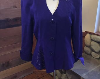 Vintage Lillie Rubin Daymor Couture Perwinkle Evening Jacket Beaded Asymetrical Size 10-12/Designer Couture Beaded Jacket