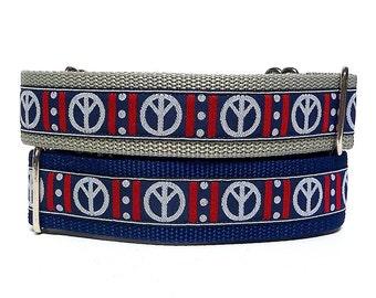 Martingale collar, dog collar, tag collar, PEACE SIGN, Silver Grey and Navy, Safety Collar, Greyhound Collar, Sighthound Collar, Adjustable