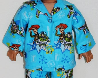 TOY STORY Woody & Buzz Flannel Pajamas fit 18inch Dolls - Proudly Made in America